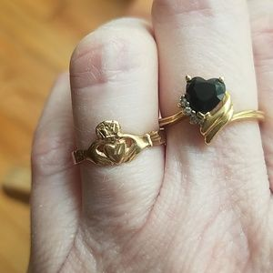 Rings- 1- claddagh  & 1- onyx heart ring